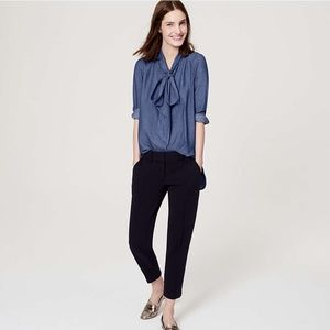 LOFT chambray bow softened shirt